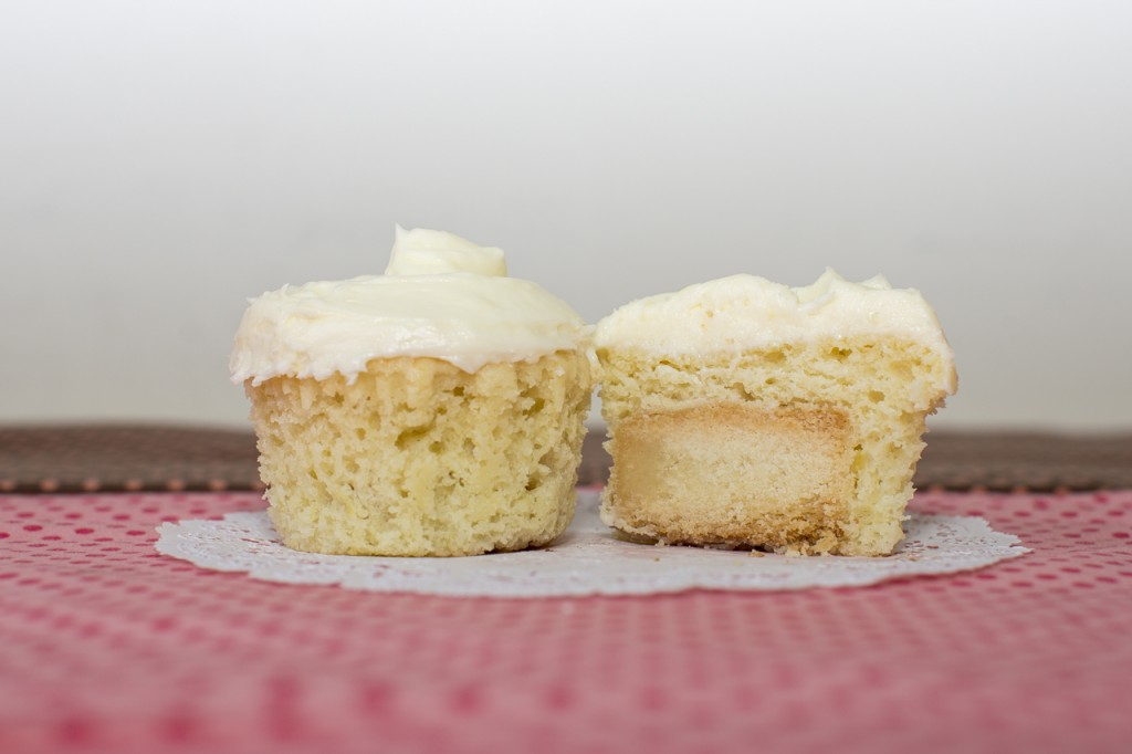 Lemon cupcake with shortbread inside topped with lemon buttercream